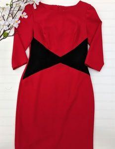 Liz Claiborne Red/Black Colorblocked Sheath Dress